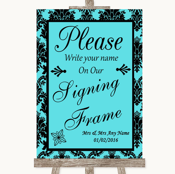 Tiffany Blue Damask Signing Frame Guestbook Personalised Wedding Sign