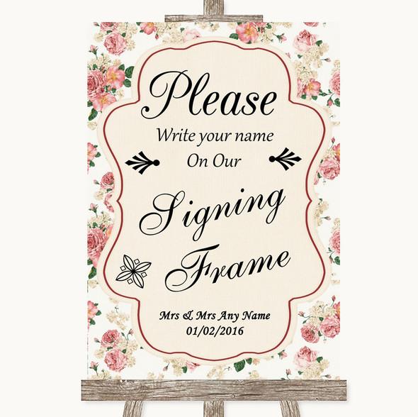 Vintage Roses Signing Frame Guestbook Personalised Wedding Sign