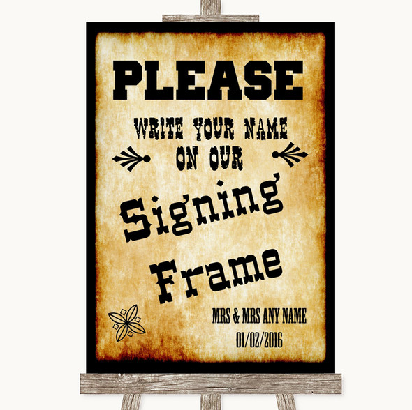 Western Signing Frame Guestbook Personalised Wedding Sign