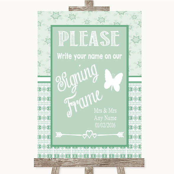 Winter Green Signing Frame Guestbook Personalised Wedding Sign