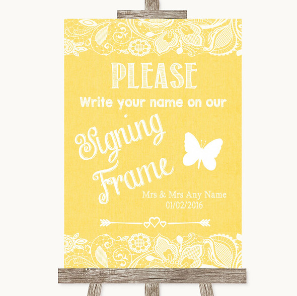 Yellow Burlap & Lace Signing Frame Guestbook Personalised Wedding Sign