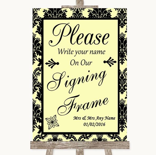 Yellow Damask Signing Frame Guestbook Personalised Wedding Sign
