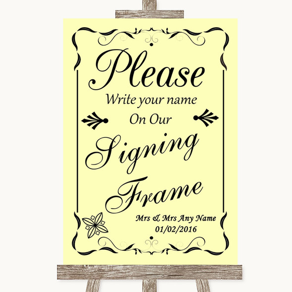 Yellow Signing Frame Guestbook Personalised Wedding Sign