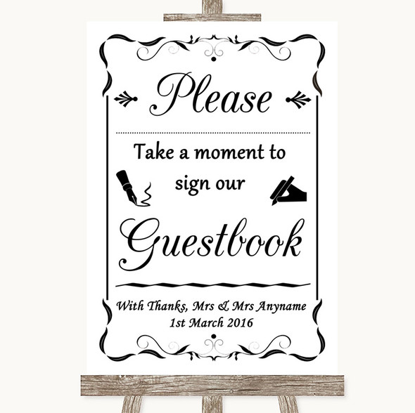 Black & White Take A Moment To Sign Our Guest Book Personalised Wedding Sign