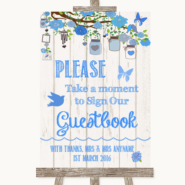 Blue Rustic Wood Take A Moment To Sign Our Guest Book Personalised Wedding Sign