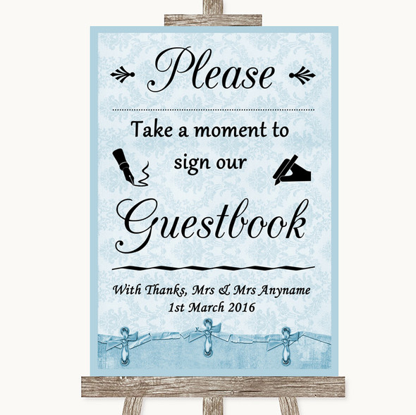 Blue Shabby Chic Take A Moment To Sign Our Guest Book Personalised Wedding Sign