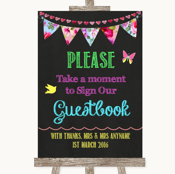 Bright Bunting Chalk Take A Moment To Sign Our Guest Book Wedding Sign
