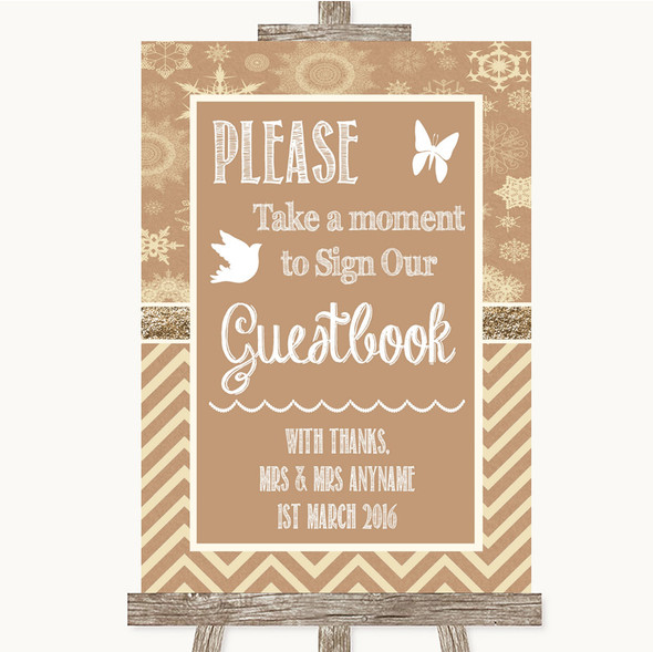 Brown Winter Take A Moment To Sign Our Guest Book Personalised Wedding Sign