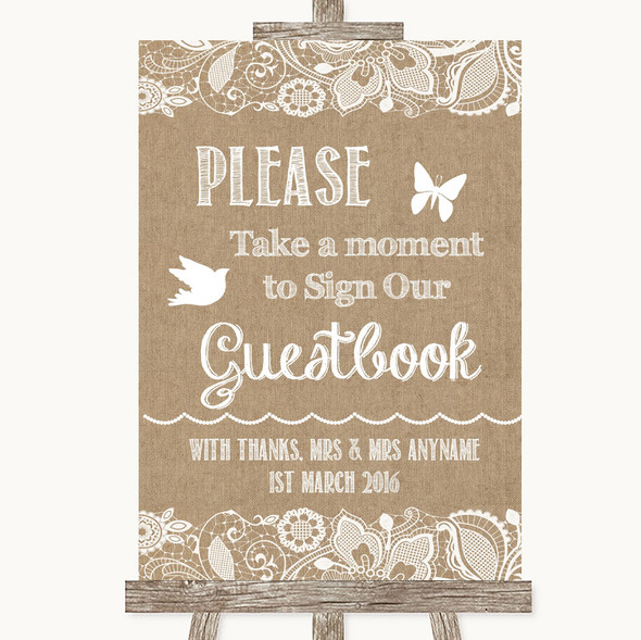 Burlap & Lace Take A Moment To Sign Our Guest Book Personalised Wedding Sign