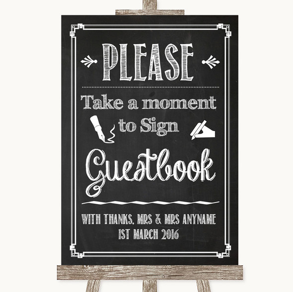 Chalk Sketch Take A Moment To Sign Our Guest Book Personalised Wedding Sign