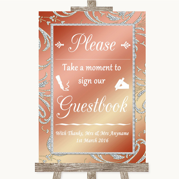 Coral Pink Take A Moment To Sign Our Guest Book Personalised Wedding Sign