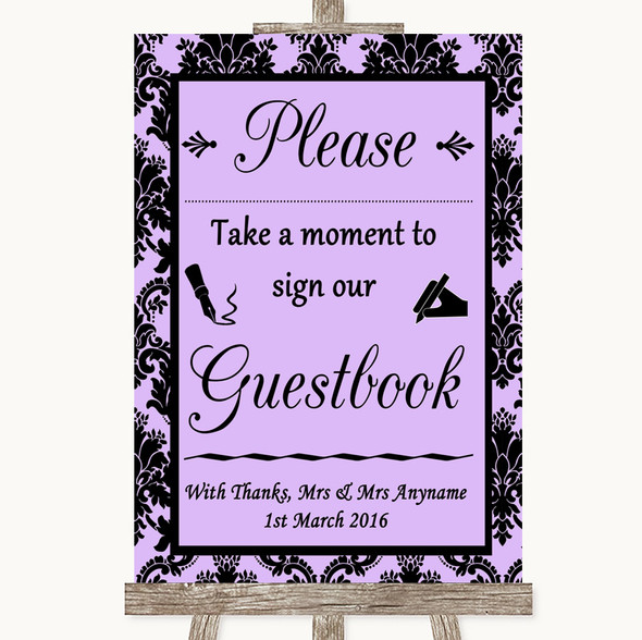 Lilac Damask Take A Moment To Sign Our Guest Book Personalised Wedding Sign