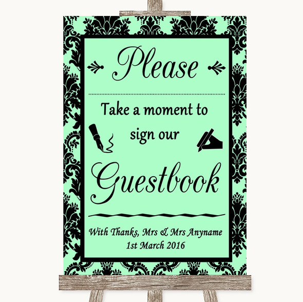 Mint Green Damask Take A Moment To Sign Our Guest Book Personalised Wedding Sign