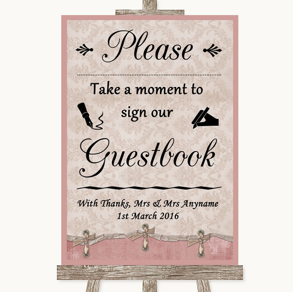 Pink Shabby Chic Take A Moment To Sign Our Guest Book Personalised Wedding Sign