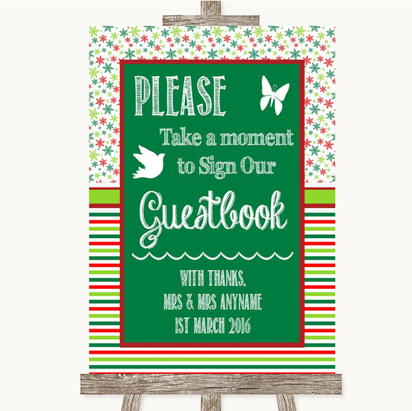 Red & Green Winter Take A Moment To Sign Our Guest Book Wedding Sign
