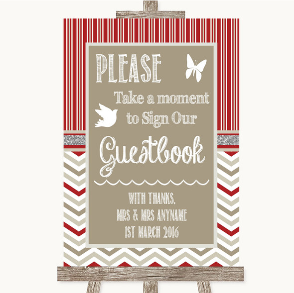 Red & Grey Winter Take A Moment To Sign Our Guest Book Personalised Wedding Sign