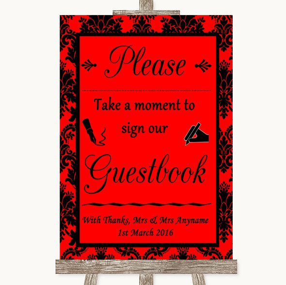 Red Damask Take A Moment To Sign Our Guest Book Personalised Wedding Sign