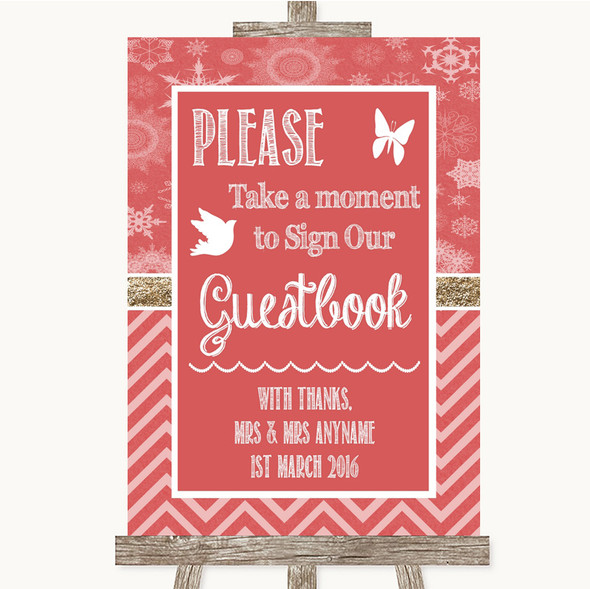 Red Winter Take A Moment To Sign Our Guest Book Personalised Wedding Sign