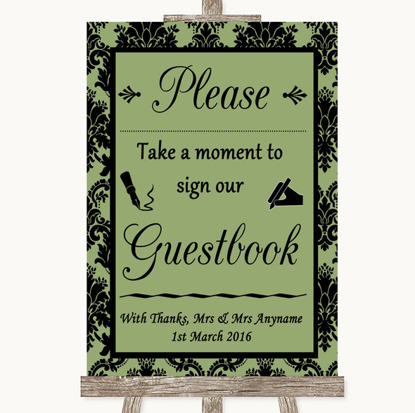 Sage Green Damask Take A Moment To Sign Our Guest Book Personalised Wedding Sign