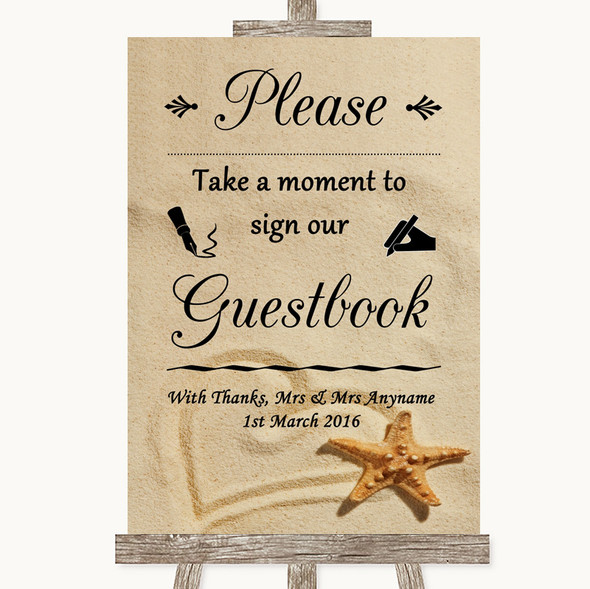 Sandy Beach Take A Moment To Sign Our Guest Book Personalised Wedding Sign