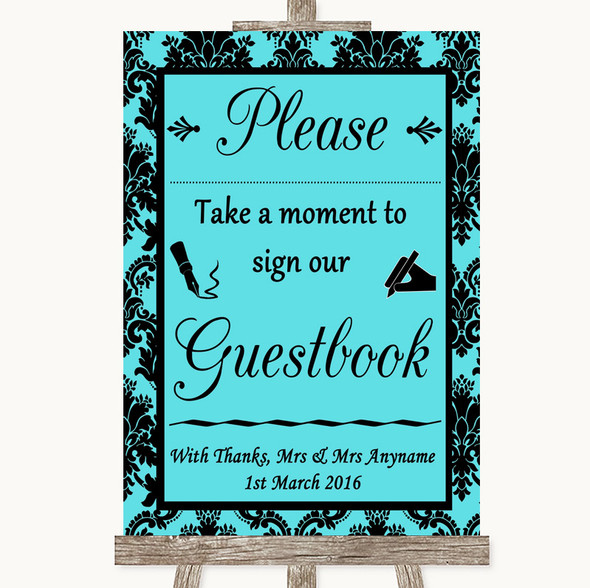 Tiffany Blue Damask Take A Moment To Sign Our Guest Book Wedding Sign
