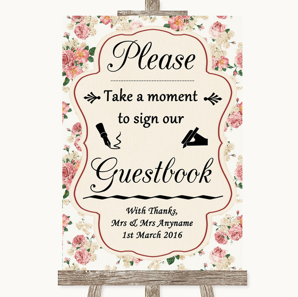 Vintage Roses Take A Moment To Sign Our Guest Book Personalised Wedding Sign