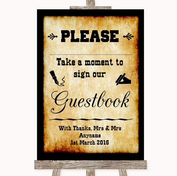 Western Take A Moment To Sign Our Guest Book Personalised Wedding Sign