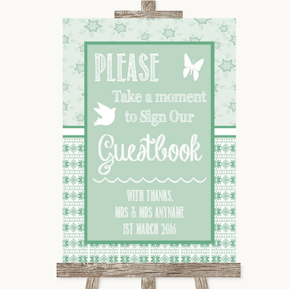 Winter Green Take A Moment To Sign Our Guest Book Personalised Wedding Sign