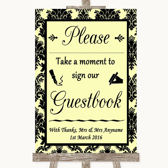 Yellow Damask Take A Moment To Sign Our Guest Book Personalised Wedding Sign