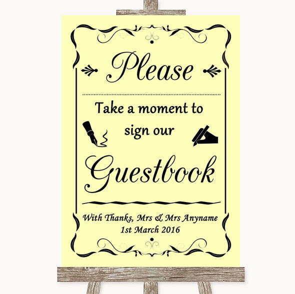 Yellow Take A Moment To Sign Our Guest Book Personalised Wedding Sign