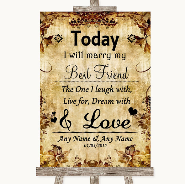 Autumn Vintage Today I Marry My Best Friend Personalised Wedding Sign