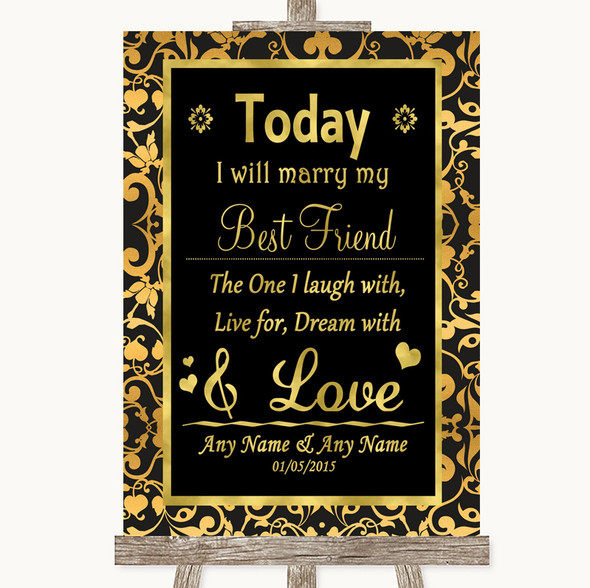 Black & Gold Damask Today I Marry My Best Friend Personalised Wedding Sign
