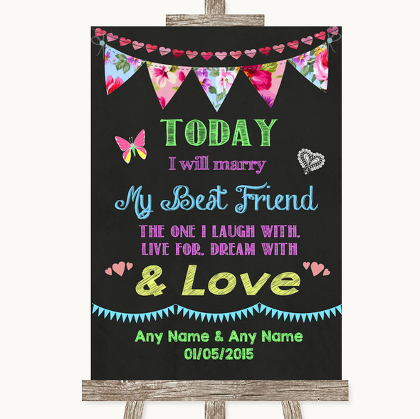 Bright Bunting Chalk Today I Marry My Best Friend Personalised Wedding Sign