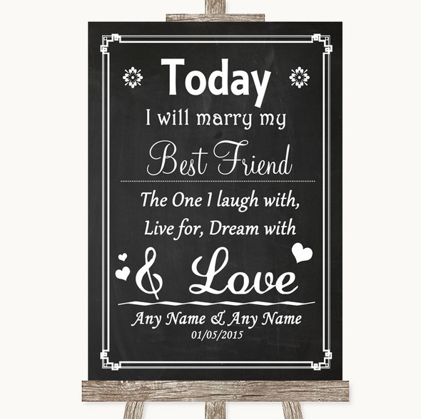 Chalk Style Today I Marry My Best Friend Personalised Wedding Sign