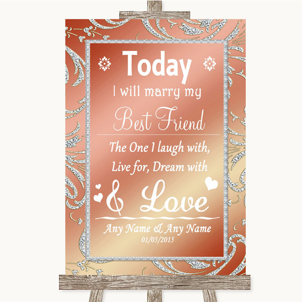 Coral Pink Today I Marry My Best Friend Personalised Wedding Sign