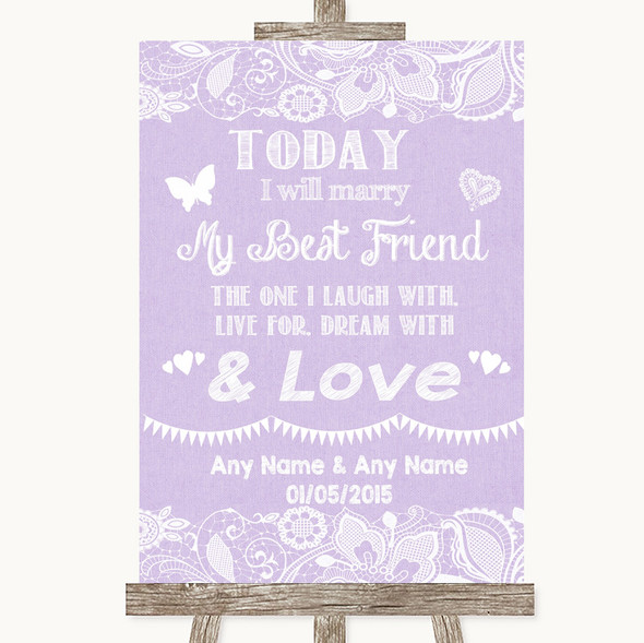 Lilac Burlap & Lace Today I Marry My Best Friend Personalised Wedding Sign