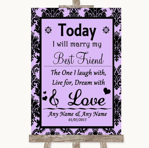 Lilac Damask Today I Marry My Best Friend Personalised Wedding Sign