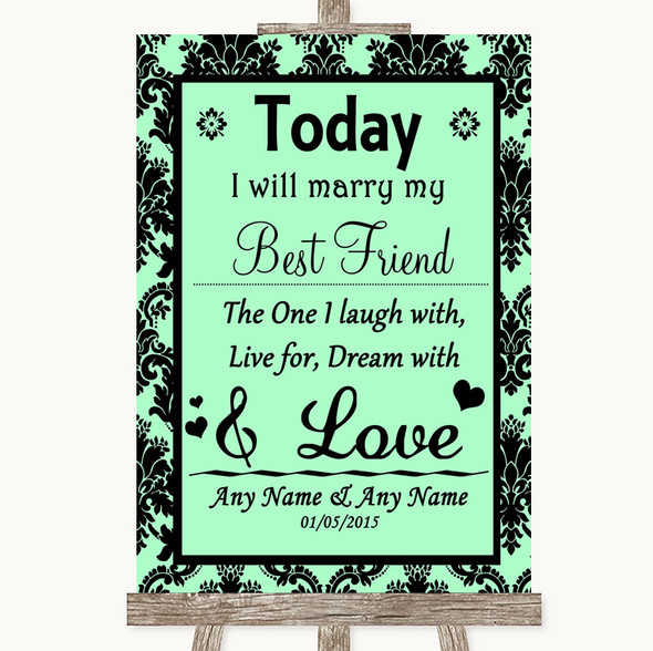 Mint Green Damask Today I Marry My Best Friend Personalised Wedding Sign