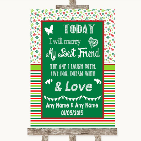 Red & Green Winter Today I Marry My Best Friend Personalised Wedding Sign