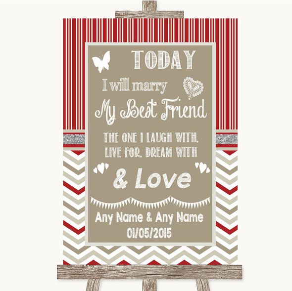 Red & Grey Winter Today I Marry My Best Friend Personalised Wedding Sign