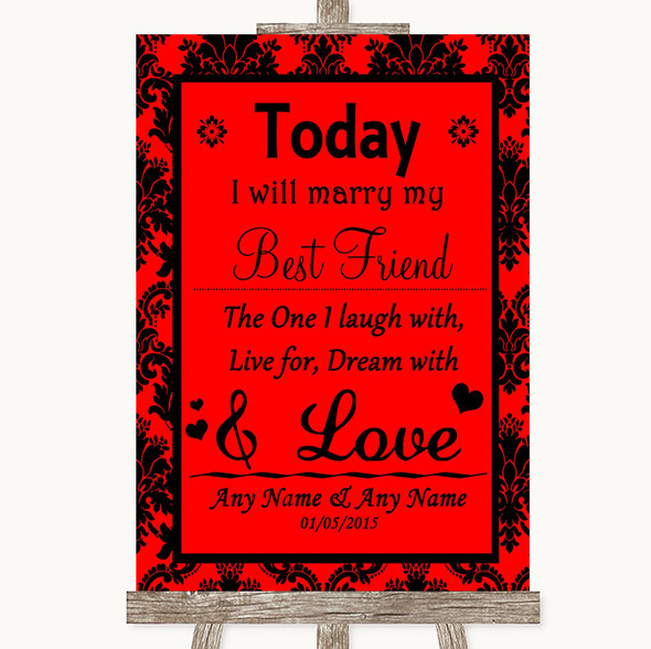 Red Damask Today I Marry My Best Friend Personalised Wedding Sign