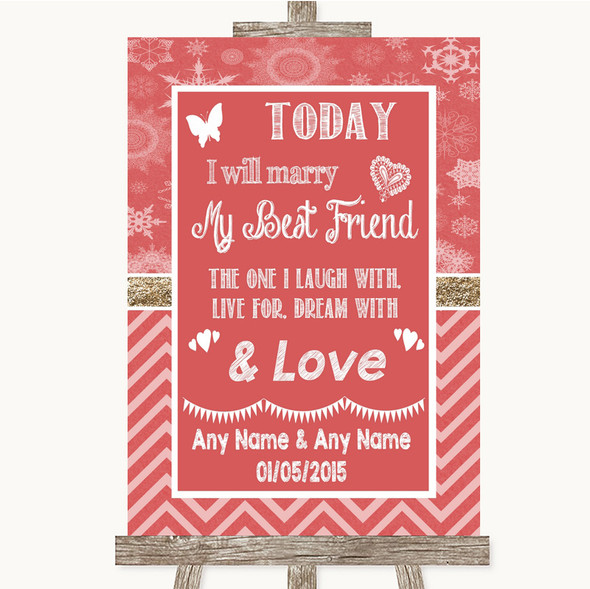 Red Winter Today I Marry My Best Friend Personalised Wedding Sign