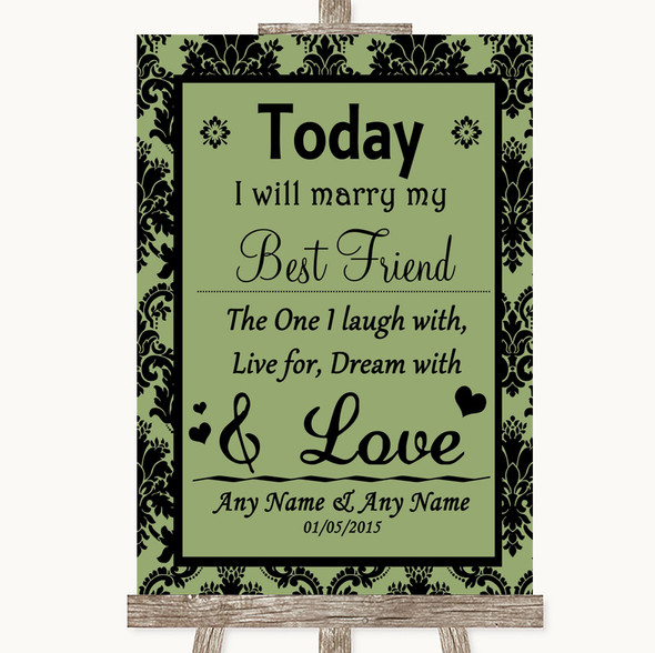 Sage Green Damask Today I Marry My Best Friend Personalised Wedding Sign