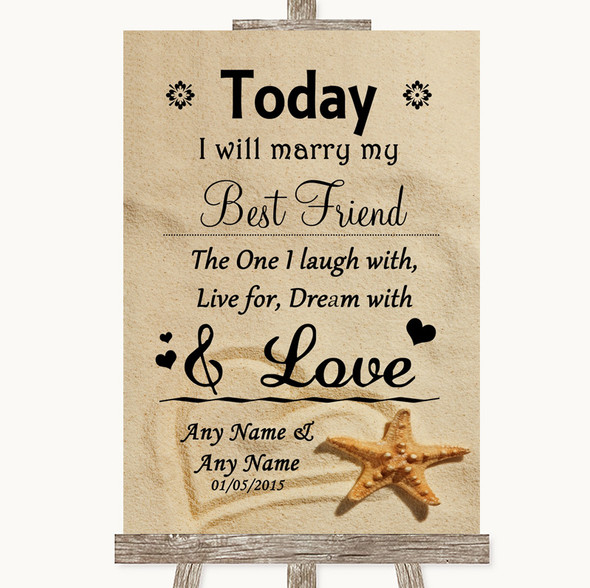 Sandy Beach Today I Marry My Best Friend Personalised Wedding Sign