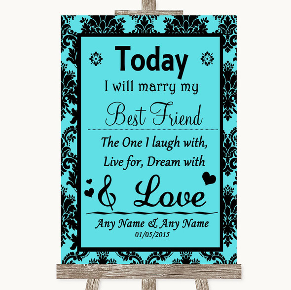 Tiffany Blue Damask Today I Marry My Best Friend Personalised Wedding Sign