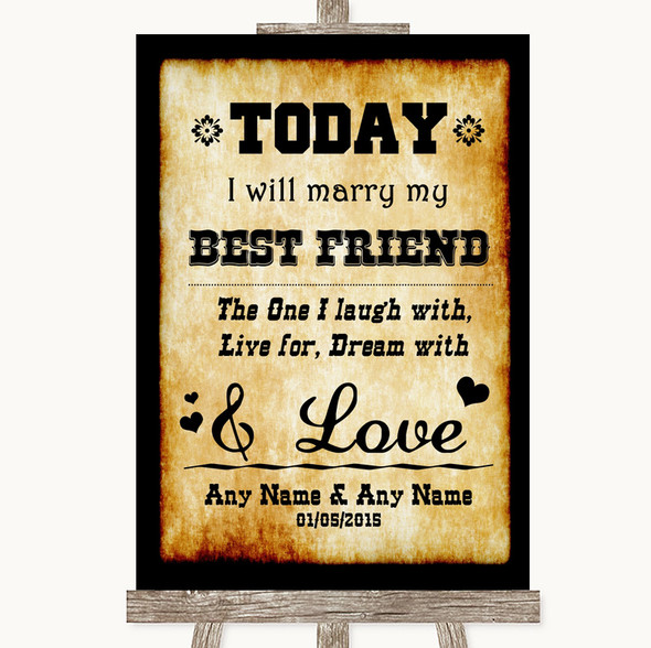Western Today I Marry My Best Friend Personalised Wedding Sign