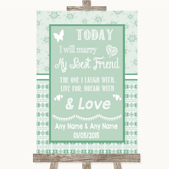 Winter Green Today I Marry My Best Friend Personalised Wedding Sign
