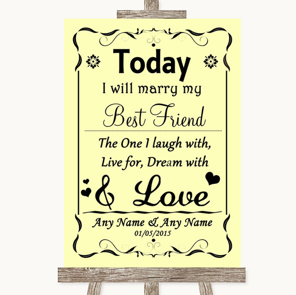 Yellow Today I Marry My Best Friend Personalised Wedding Sign