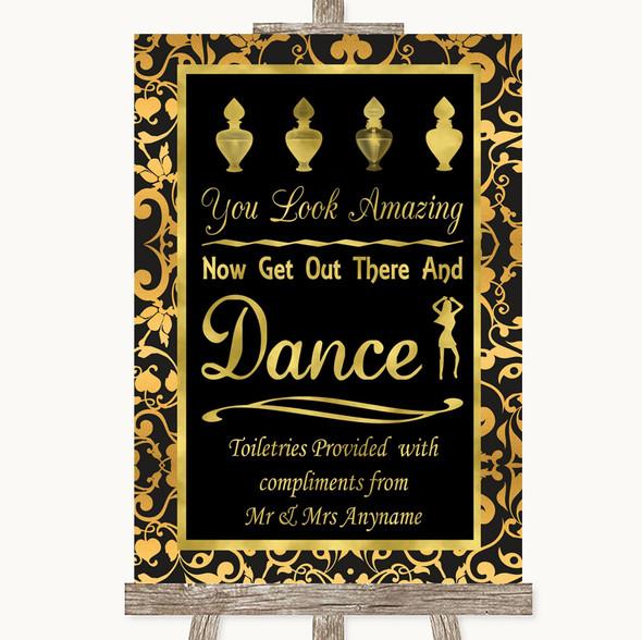 Black & Gold Damask Toiletries Comfort Basket Personalised Wedding Sign