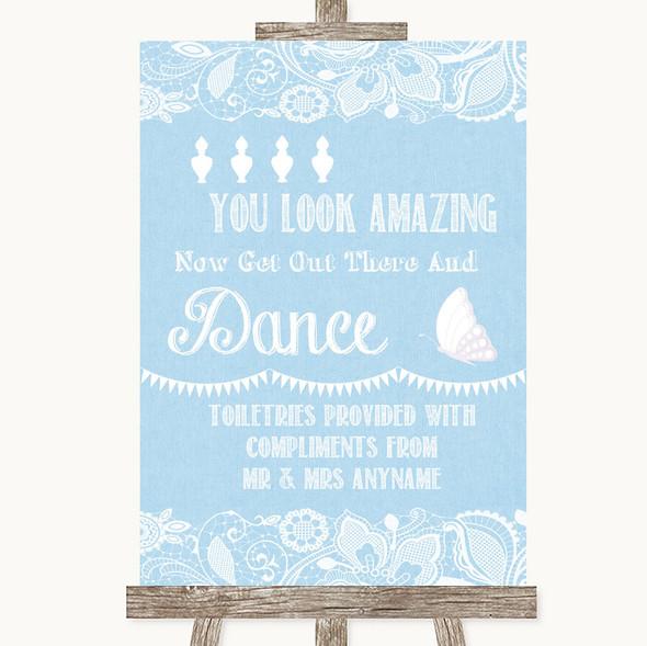 Blue Burlap & Lace Toiletries Comfort Basket Personalised Wedding Sign